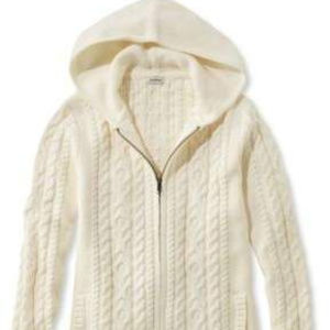 LL Bean Mixed-Cable Sweater, Zip-Front Hoodie Sz M